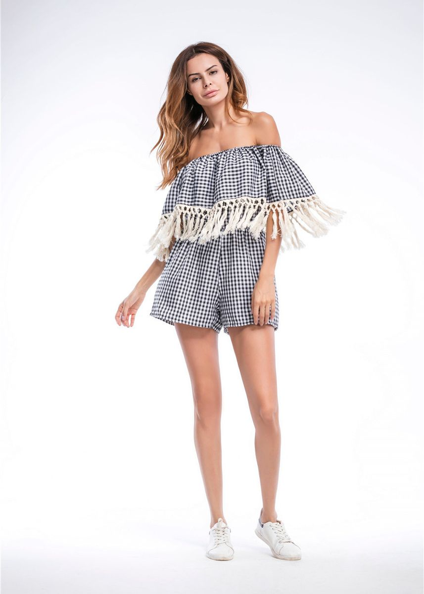 Multi color Jump Suits . Striped checked Women's Jump Suits -