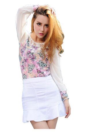 White color Skirts . Ruffled denim short skirt ladies skirt -