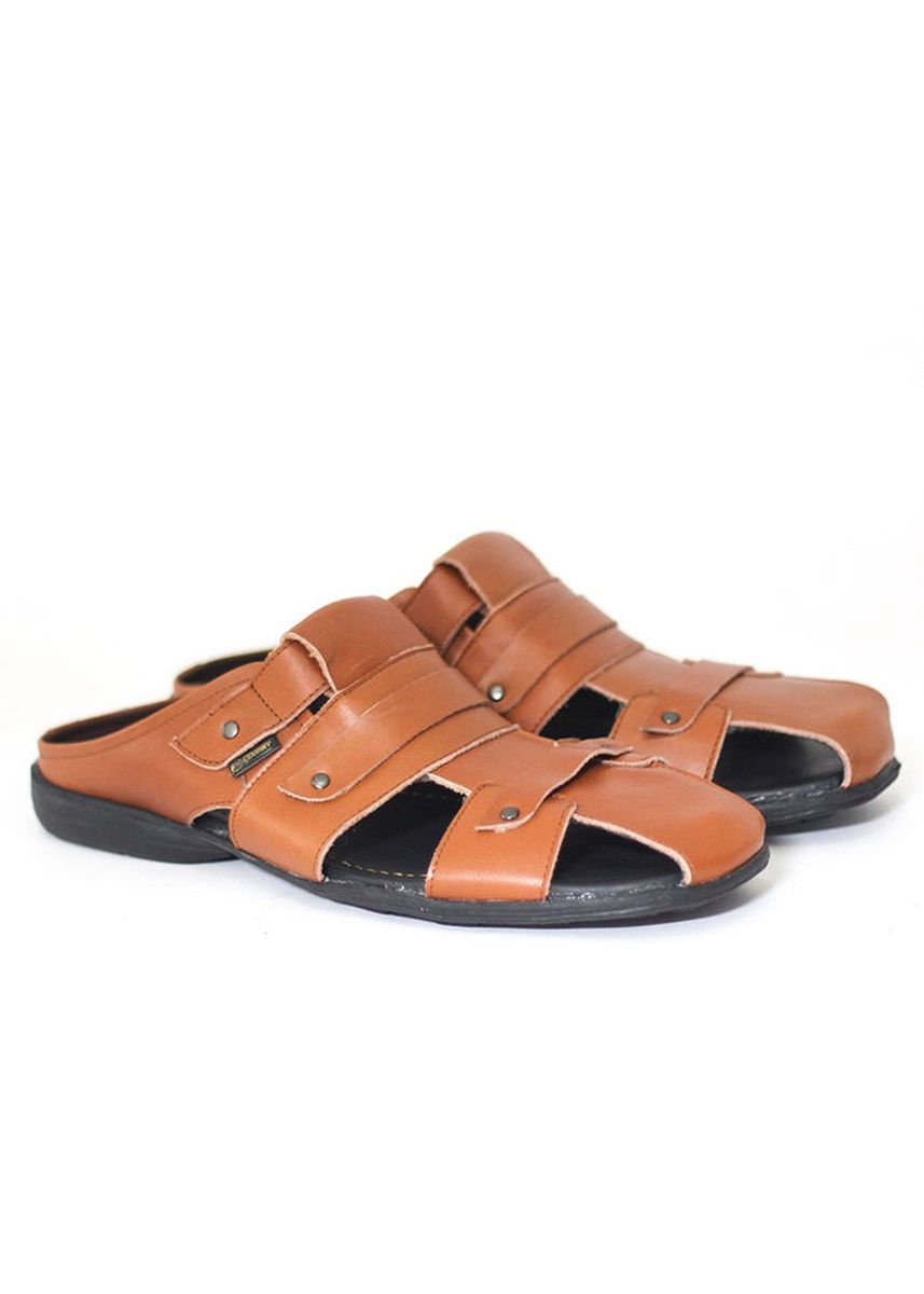 Tan color Sandals and Slippers . Bustong-Sandal Pria Selop Kulit Original Cevany Hand Made  -