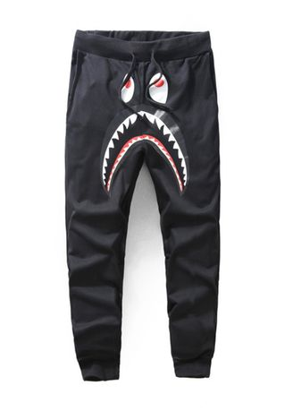 Black color Casual Trousers and Chinos . Shark Print Style Casual Pants -