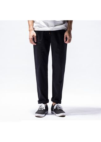 Black color Casual Trousers and Chinos . Linen Solid Men's Casual Fashion Pants  -