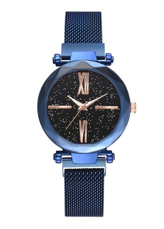 Blue color Analog . Hot Style Magnet Iron Strap Watch -