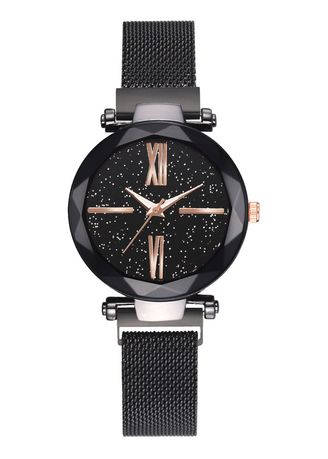 Black color Analog . Hot Style Magnet Iron Strap Watch -
