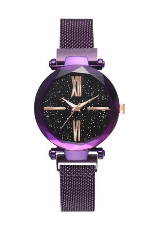 Violet color Analog . Hot Style Magnet Iron Strap Watch -