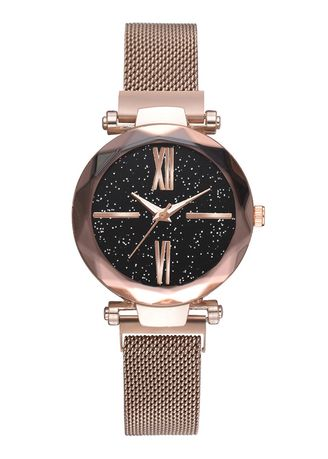 Gold color Analog . Hot Style Magnet Iron Strap Watch -