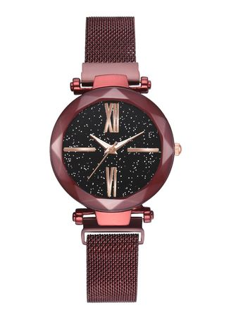 Red color Analog . Hot Style Magnet Iron Strap Watch -