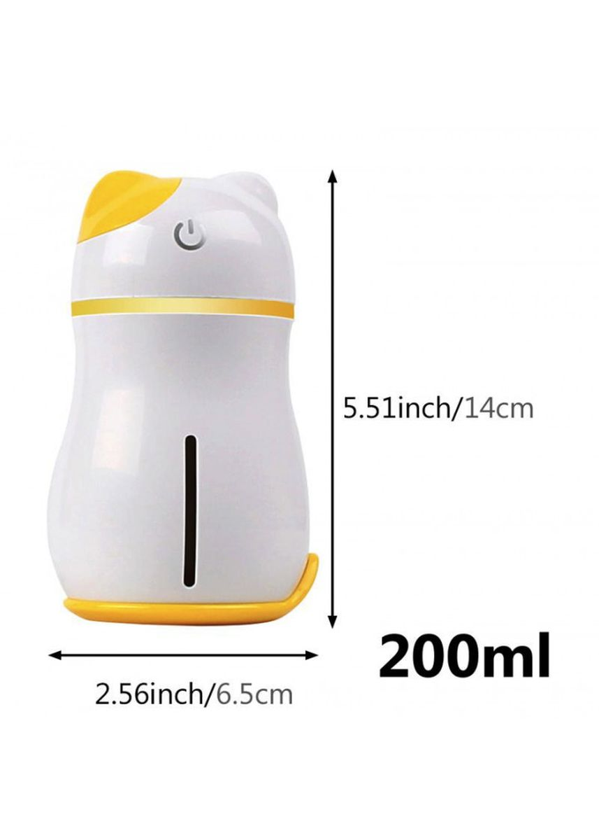 Yellow color Home Fragrances . Adorable Lucky Cat 3 in 1 Mini Humidifier with LED Light Mini Fan 200ML Yellow -