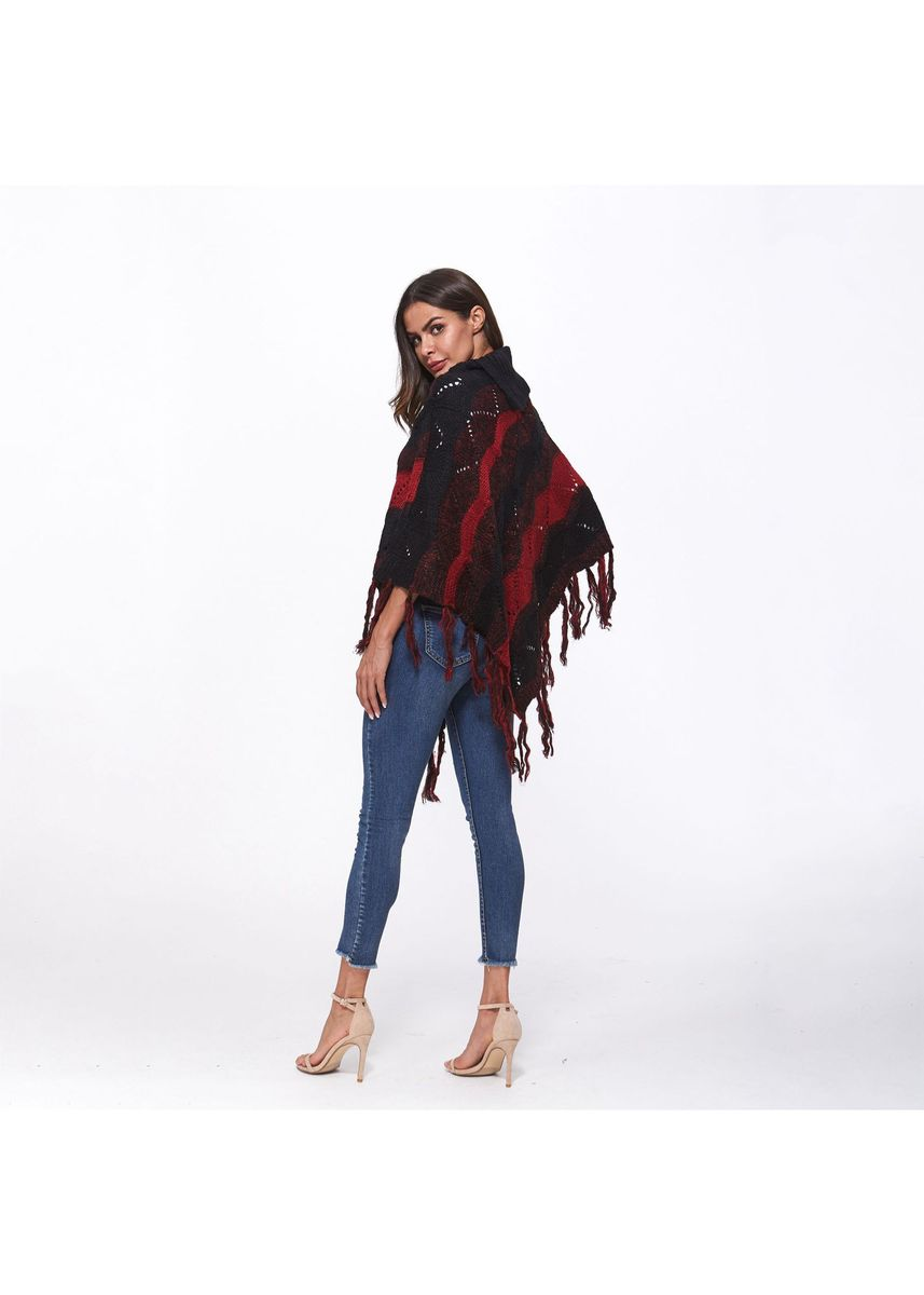 Red color Tops and Tunics . Fringed knitted shawl Women's Blouse -