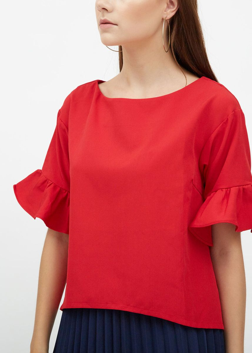 Red color Tops and Tunics . Lou Frill Sleeve Top -