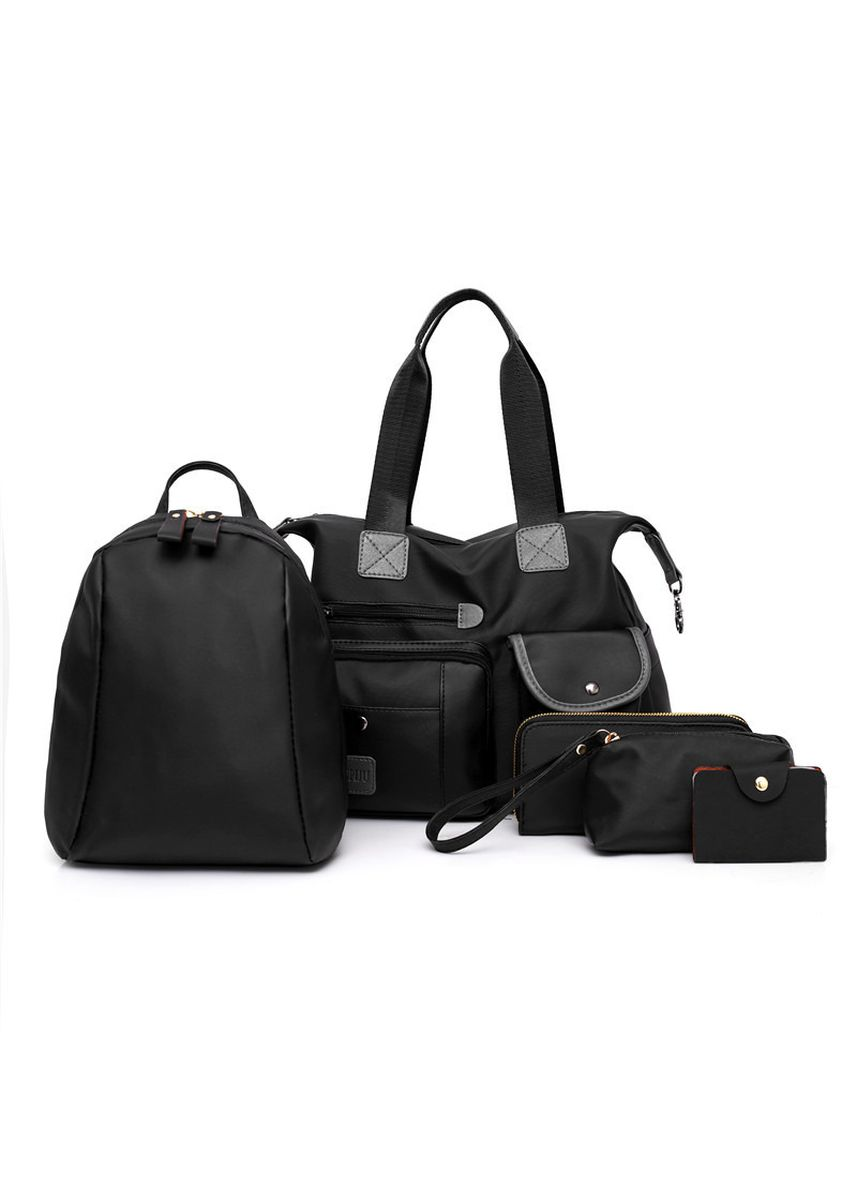 Black color Hand Bags . Style Female Bag Nylon Cloth Mother Five-piece Leisure Large Capacity -