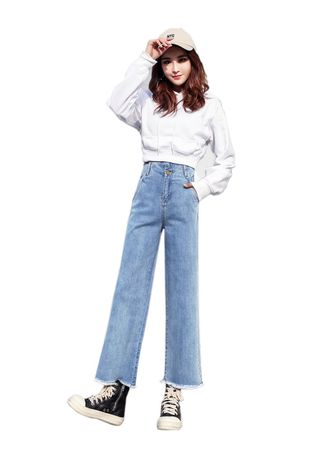 สีฟ้าอ่อน color ยีนส์ . New jeans women loose wide leg pants high waist straight pants light blue nine pants -