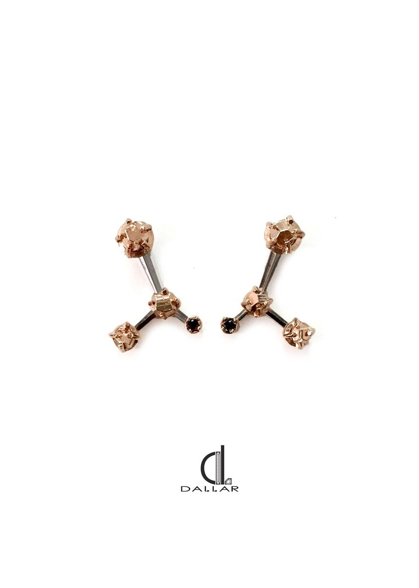 Pink color  . Dallar_jewelry Grand Pyrite Earring Pink Gold -
