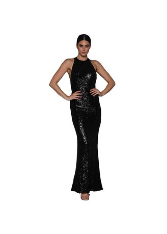 Black color Dresses . Long Sequin Embroidered Dress Female Solid Color Was Thin Cross Strap -