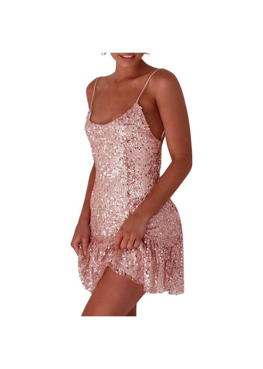 Pink color Dresses . Women's Sexy Sling Beads Sequin Dress Skirt -
