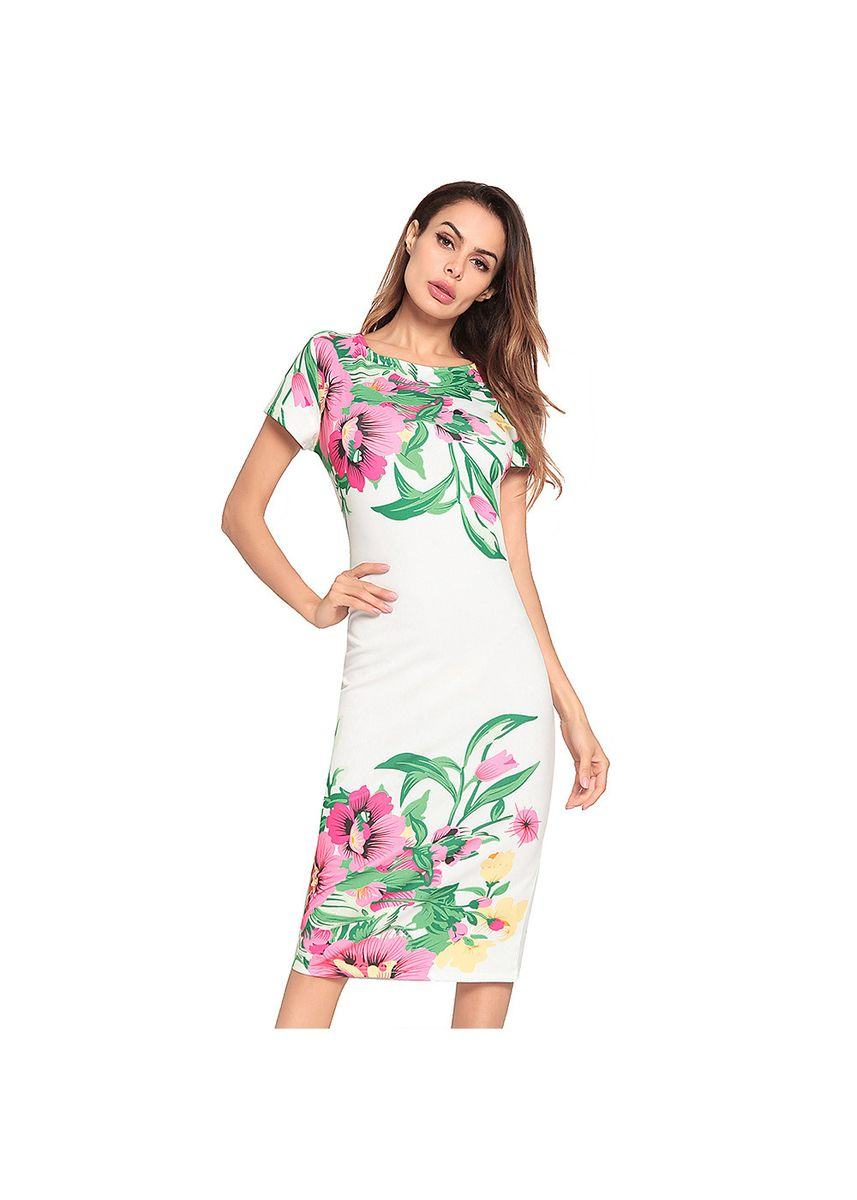White color Dresses . Women's Sexy Step Skirt Printed Hip Dress -