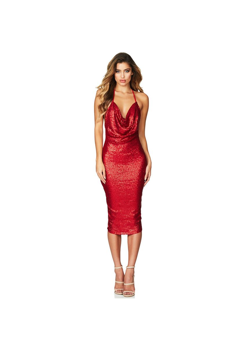 Red color Dresses . And Elegant Sequins In Long Dress Sexy V-neck Open Back Evening 610927 -