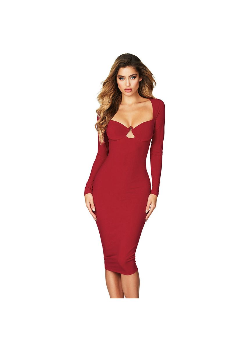 Red color Dresses . Evening Dress Female Sense Small Was Thin Low Collar Slim Mini 610976 -