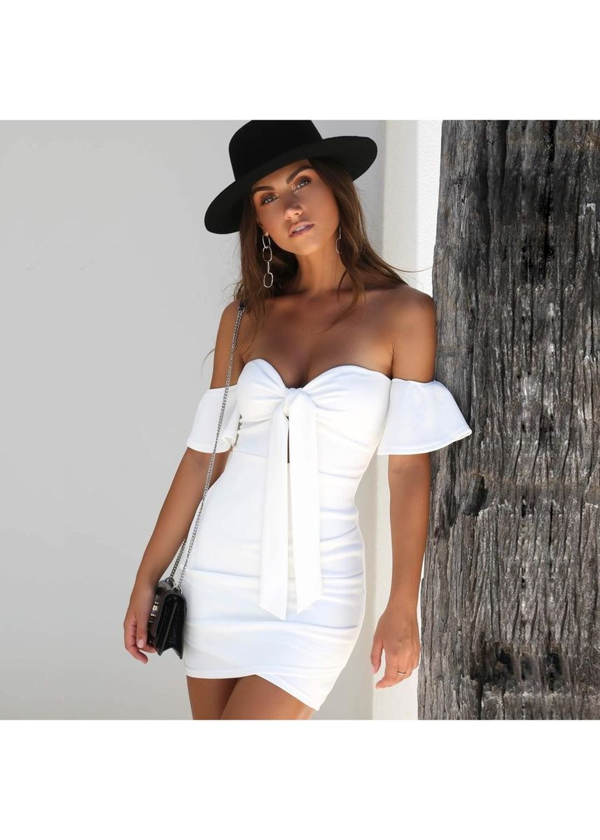 White color Dresses . Women's Sexy Straps One Word Shoulder Tube Top Dress Nightclub -