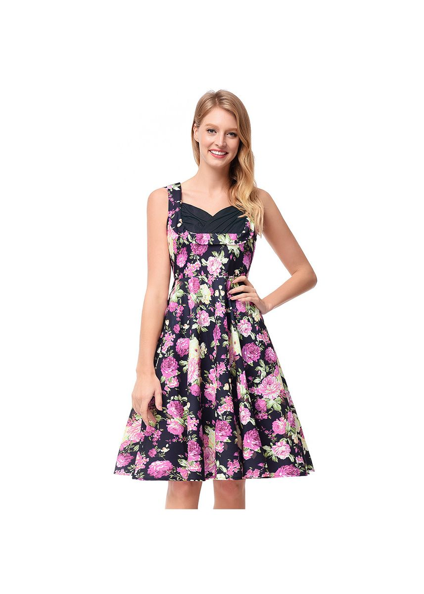ขาว color เดรส . Women's Square Collar Waist And Floral Skirt Hepburn Print Dress -