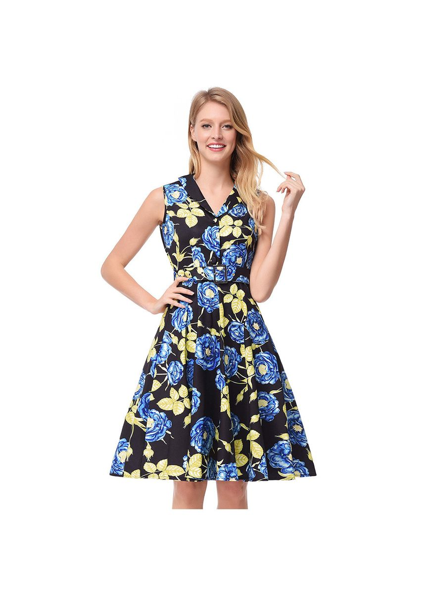 ฟ้า color เดรส . Women's Flower Print A Word Skirt Lapel Sleeveless Retro Dress Hepburn -