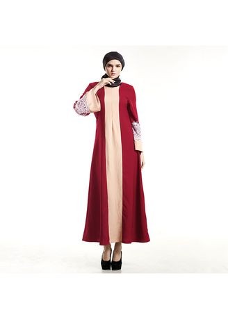 แดง color เดรส . Women's Temperament Lace Court Wind Color Dress Malaysia Singapore -