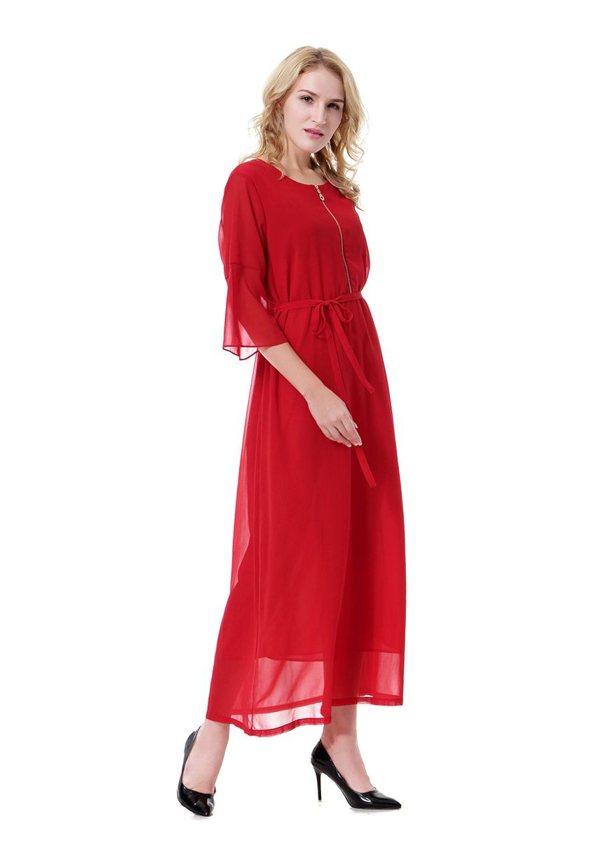 Red color Dresses . Muslim Arab Middle East Women's Chiffon Sleeve Zipper Long Dress -