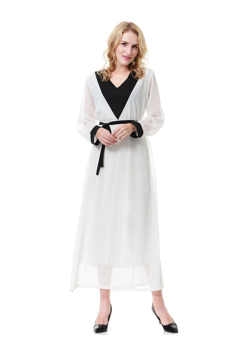 White color Dresses . Muslim Middle Eastern Women's Lace Robe Dress, TH917 -