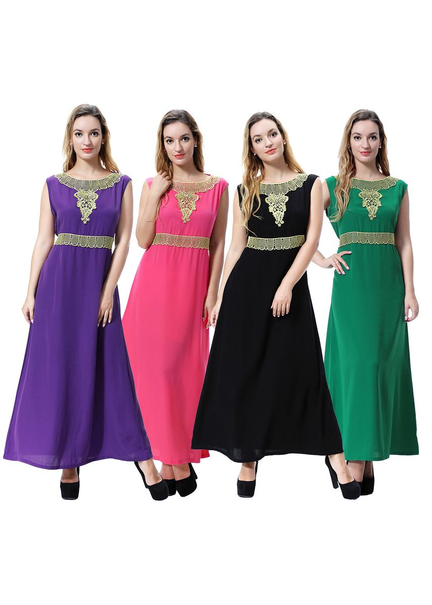 Green color Dresses . Middle Eastern Muslim Sleeveless Dress Malaysian Women's Long Skirt -
