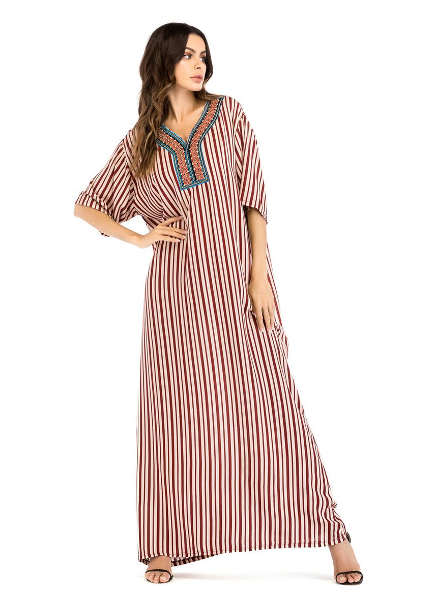Red color Dresses . A1024 Fashionable And Comfortable Embroidered Striped Dress Middle -