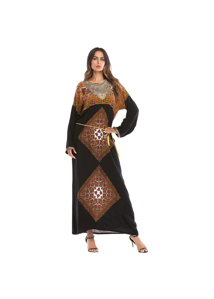 แดง color เดรส . A1018 Contrast Stitching Embroidered Lace Dress Middle Eastern Loose -
