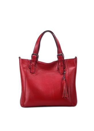แดง color กระเป๋าถือ . And Leisure Lingering Head Layer Leather Handbags Shoulder Bag -