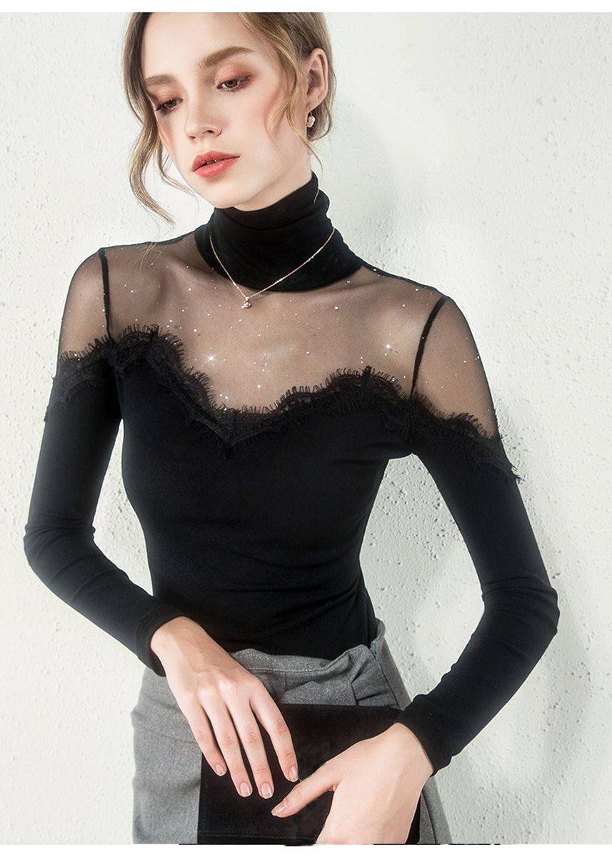 Black color Tops and Tunics . Sexy Elegant Gauze High-necked Long Sleeve Slim Bottoming Shirt -