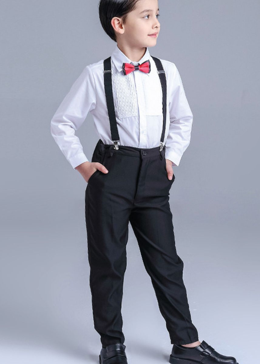 ขาว color ชุด . Boys shirt set 3pcs suitable for wedding (shirt + pants + bow tie) -