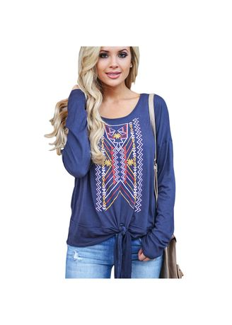 Violet color Tops and Tunics . Round Collar Printed Bandage Long Sleeve Women's Tops -