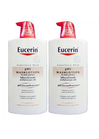 ไม่มีสี color สบู่อาบน้ำ . Fasicare Eucerin Sensitive Skin pH5 Washlotion For Body and Face 1000 ml (2 ขวด) -