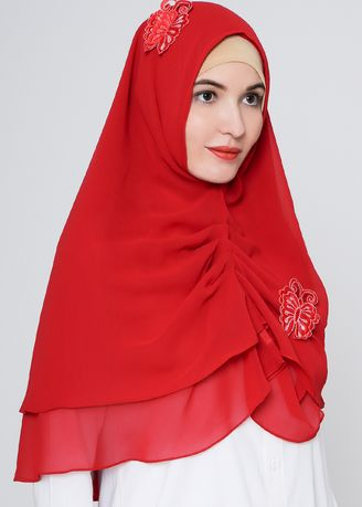 Red color Hijab . Butterfly Hijab -
