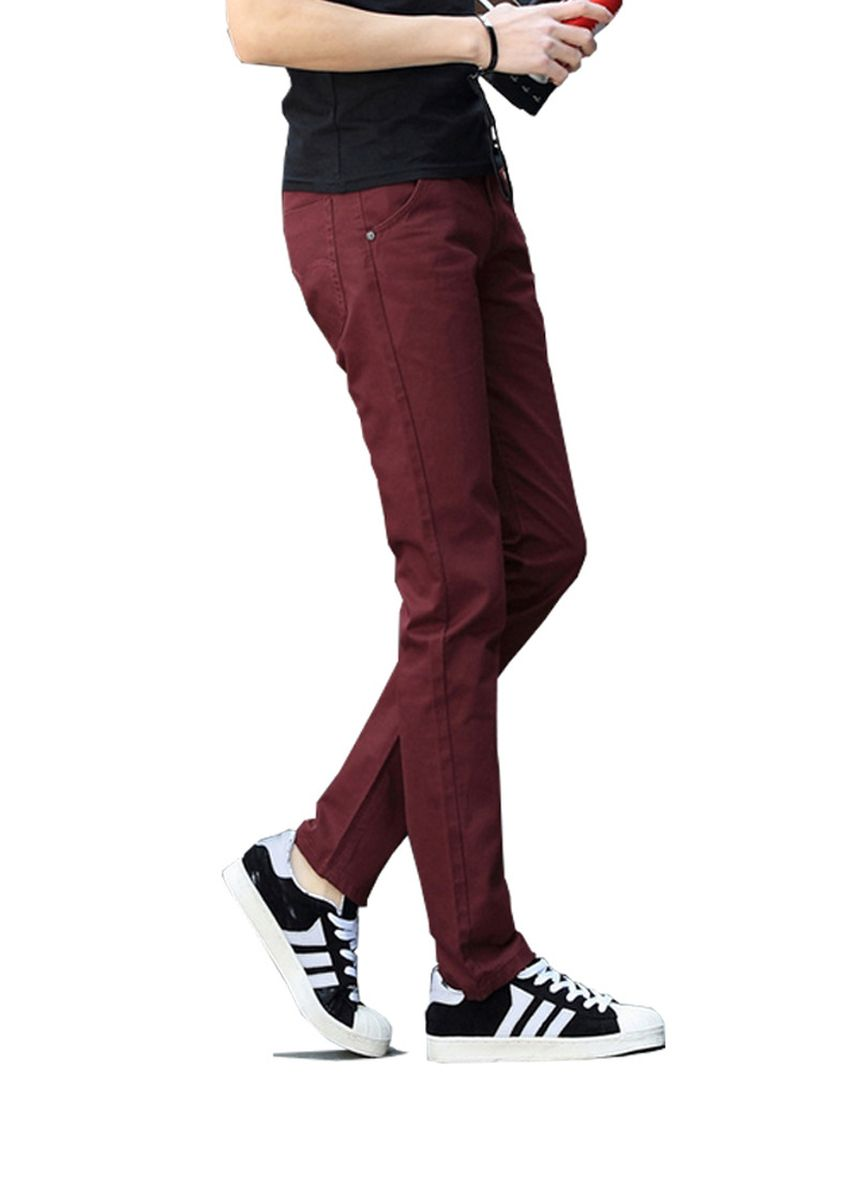 Red color Casual Trousers and Chinos . Chino Pants Cotton Casual Men Trousers -