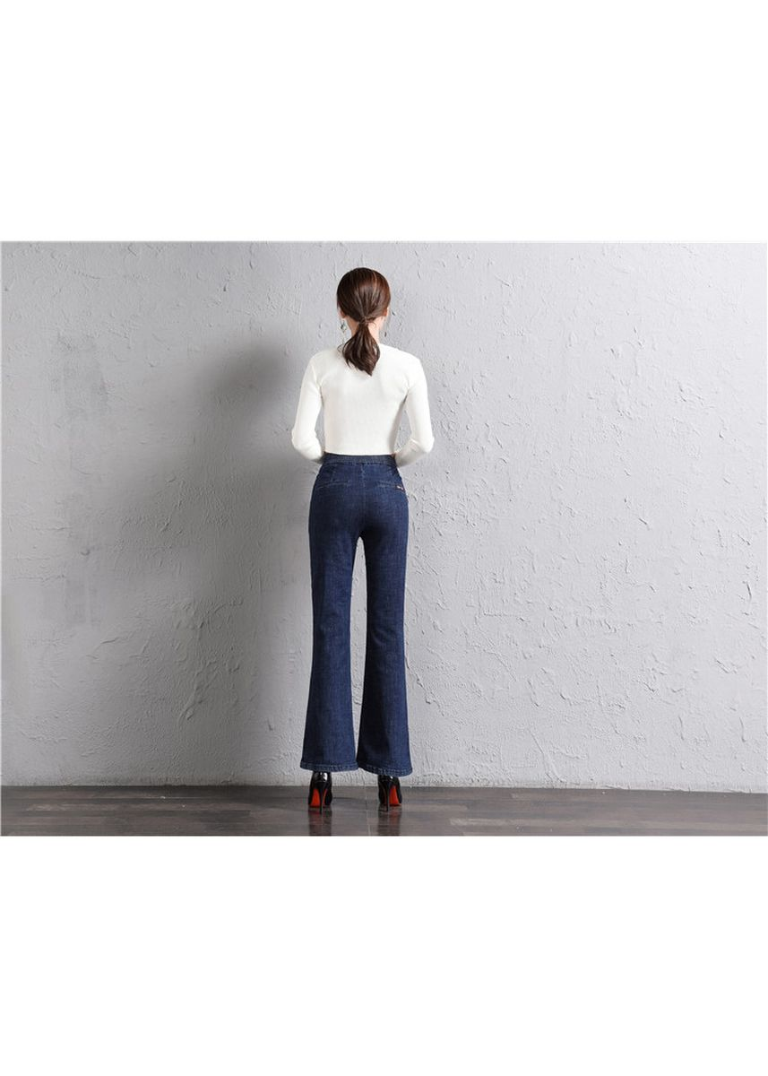 ฟ้า color ยีนส์ . New tight waist stretch jeans loose retro wide leg pants flared pants -