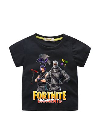 Black color Tops . Children's Cotton Short-sleeved T-shirt Wear 3D Printing Fortress -