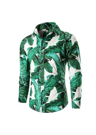 Green color Casual Shirts . Men's Printed Slim Fit Long Sleeve Casual Button Down Dress Shirt -