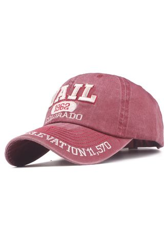 Pink color Hats and Caps . 'Vail' Letters Embroidery Washed Baseball Cap -