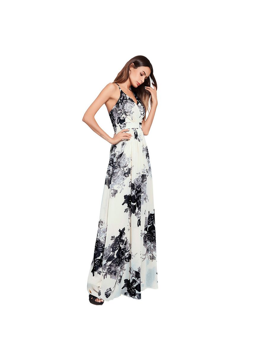 แดง color เดรส . Women's Cross Straps Bohemian Print Large Dress Long Skirt Back -