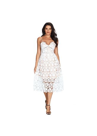 White color Dresses . Shi Ying Mini Dress Lace Openwork Strap V-neck Sleeveless High Waist -