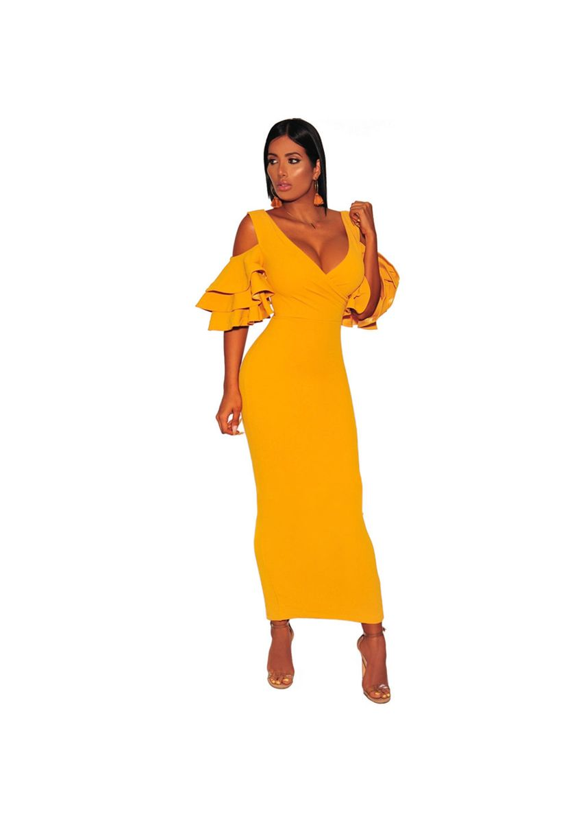 Yellow color Dresses . Long Dress Layered Ruffled Short Sleeve Sexy V-neck Slim Mini 610899 -