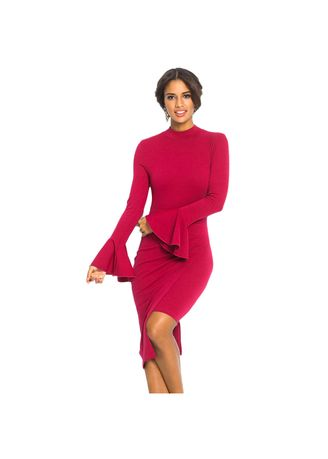 Red color Dresses . Shi Ying Women's Mini Dress High Collar Speaker Long Sleeve Asymmetric -
