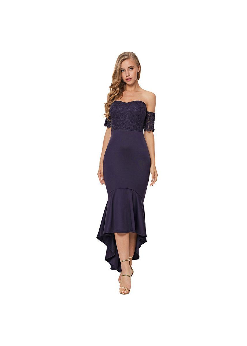 Blue color Dresses . Shi Ying Evening Dress Tube Top With Cup Cotton Back Zipper Lace Short -