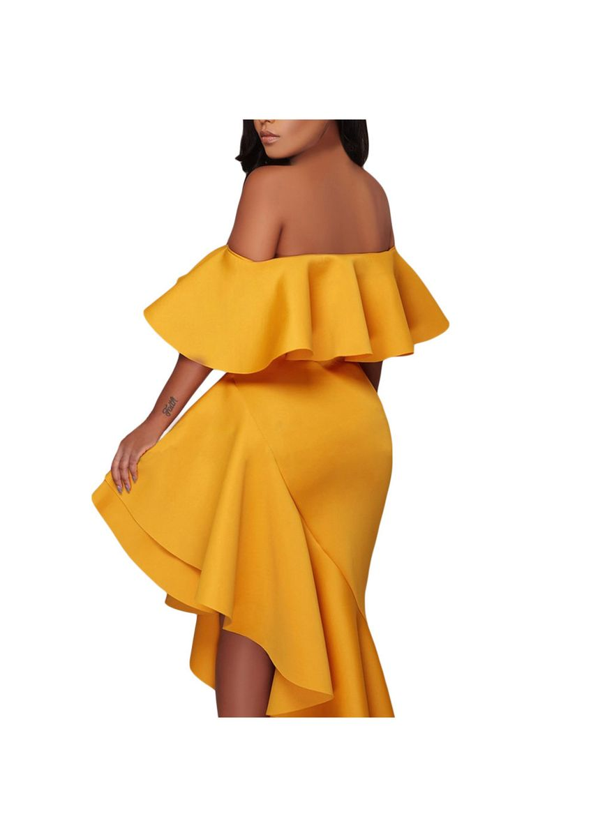 ชมพู color เดรส . Shi Ying Sexy Tube Top Ruffled Asymmetrical Pleated Skirt Women's -