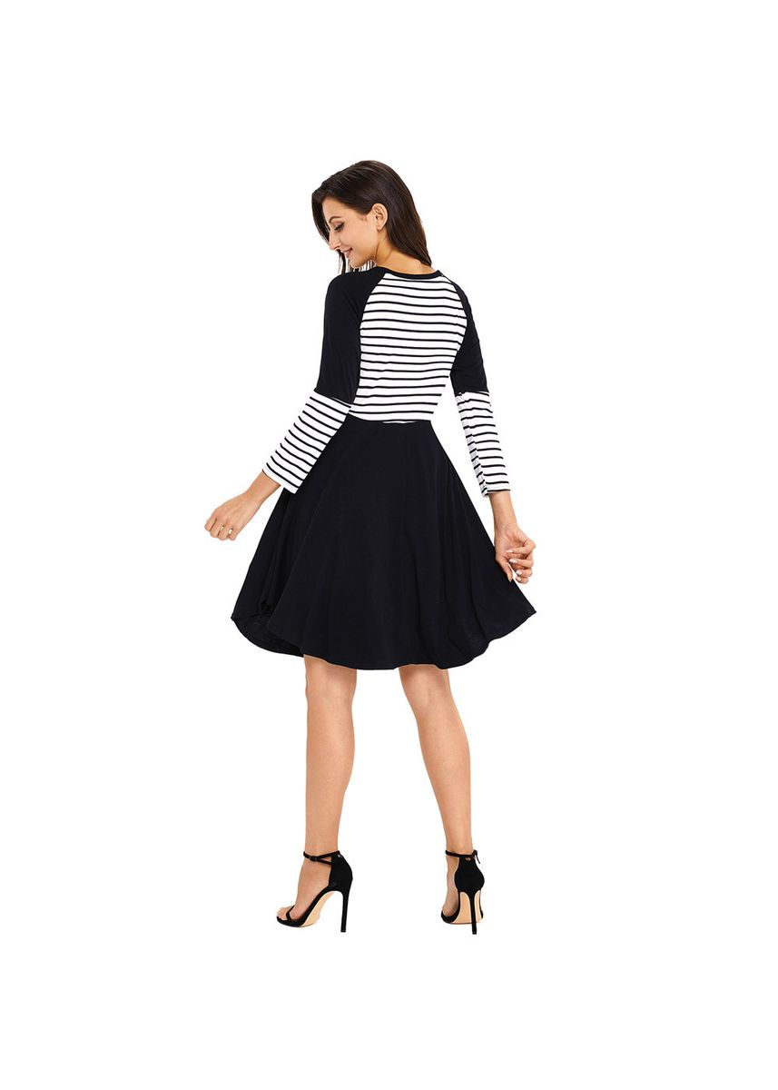 Black color Dresses . Shi Ying Station Fashion Women's Sexy Round Neck Long-sleeved Chic -