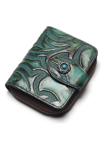 Wallets and Clutches . Men Leather Zipper Multi-Card Wallet -
