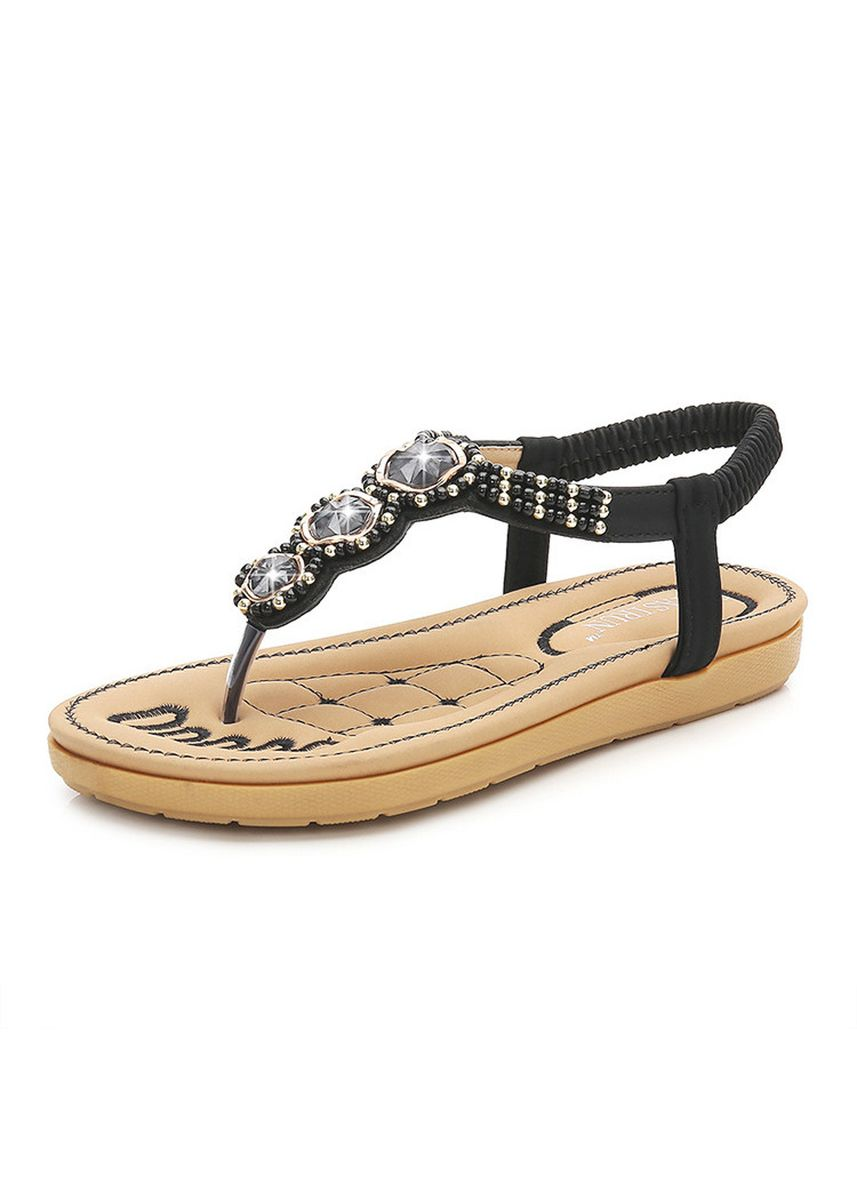 ส้ม color รองเท้าแตะ และรัดส้น . Morning Sun Bird Bohemian Sandals Beaded Star Platform Female Round -